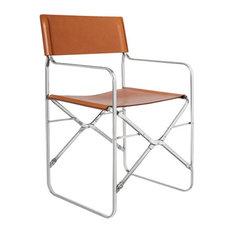 April Folding Chair Brown Cowhide