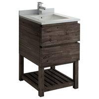 """Formosa Floor Standing Open Bottom Modern Bathroom Cabinet With Top & Sink, 24"""""""