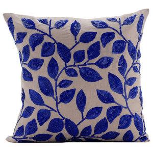Rainy Blue Leaves, 30x30 Cotton Linen Mocha Accent Cushions