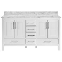 "Kendall White Bathroom Vanity, 60"", Vanity With Carrara Marble Top"