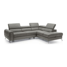 Camelia Modern Leather Sectional Sofa With Bed In Grey Right Facing Chaise
