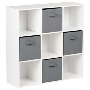 Modern 4-Drawer and Storage Cabinet, Painted MDF, Grey