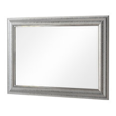 Silver Finish Bevelled Wall Mirror, 75x105 cm