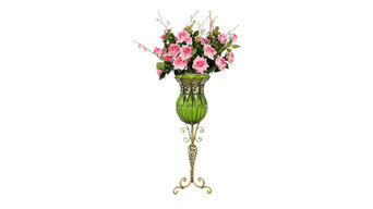 SOGA 85cm Green Glass Floor Vase and 12pcs Artificial Flower