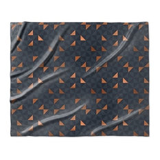 """Copper Triangles Navy"" Sherpa Blanket 60""x50"""