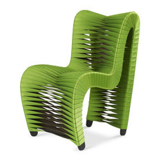 """26""""W Seat Belt Dining Chair Woven Green and Brown Fabric"""