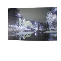 Battery Operated 3 LED Lighted City Park Winter Scene Canvas Wall Hanging