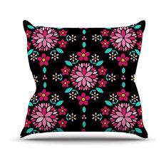 "Anneline Sophia ""Dahlia Mandala"" Pink Black Throw Pillow"