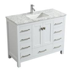 Eviva London 48-inchx18-inch Solid Wood Bathroom Vanity With Carrara Top In White