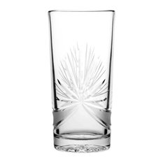 Decorative Star Lead Crystal Highball Glasses, Set of 6