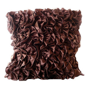 Vintage Style Ruffles Brown Satin Throw Cushion Covers 30x30, Vintage Browns