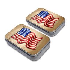 Vintage American Flag Tin Set