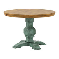 Arbor Hill Two-Tone Round Pedestal Base Dining Table, Antique Sage Green