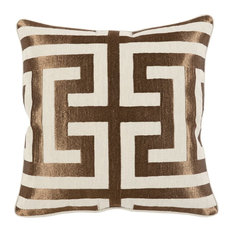 """Carly Embroidered 22"""" Throw Pillow by Kosas Home, Copper"""