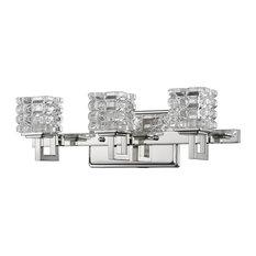 Coralie Indoor 3-Light Bath With Crystal Glass Shades, Polished Nickel