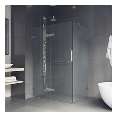 """36""""x48"""" Frameless 3/8"""" Clear and Chrome Shower Enclosure, Clear/Brushed Nickel"""