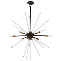 George Kovacs P1793-416 6-Light Pendant, Painted Bronze/Natural Brushed Brass