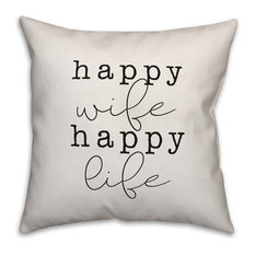 Happy Wife Happy Life Throw Pillow Cover, 16x16