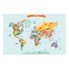 Countries of The World Map, Peel and Stick Poster Sticker, Small