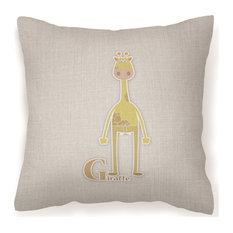 """Alphabet G for Giraffe Decorative Pillow, 18""""x18"""""""