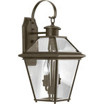 Progress Lighting - Burlington 2-Light Med Wall Lantern, Antique Bronze - The Burlington outdoor collection is constructed from aluminum for durable, weather-resistant performance. A Brushed Nickel or Antique Bronze finish complements the clear beveled glass. Open bottom design allows individuals to replace lamps without removing any pieces.