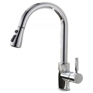 Modern Kitchen Sink Taps, Pull Out Spout Swivel Design, Polished Chrome Finish