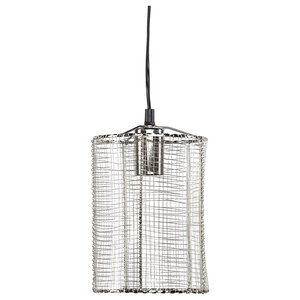 Silver Wire Cylinder Cage Pendant Lights, Set of 2