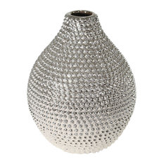 "Decorative Ceramic Vase, Silver, 9.75""x9.75""x12"""