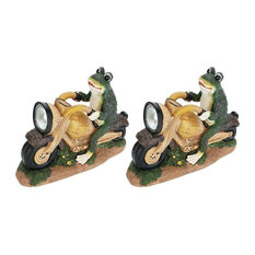 "60900, 2-Pack Set Frog on a Motorcycle Solar LED Accent Light Statue 10"" Length"