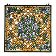 "22""Wx22""H Shamrock Garden Stained Glass Window"