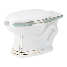 Elongated Toilet Rear Entry Bowl White/Gold/Blue Sheffield Toilet Part
