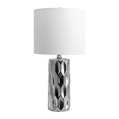 Ceramic Linen Shade Silver Finish On-Off Switch Table Lamp, 22""