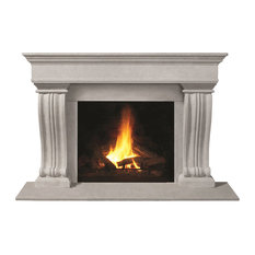 Fireplace Stone Mantel 1110.536 With Filler Panels, Natural, With Hearth Pad
