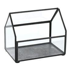 Pierre Cottage Glass Terrarium, Small, Grey Antiq