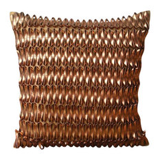 """3D Metallic Rust Pillows Cover, Faux Leather 14""""x14"""" Pillow Case, Rustic Rust"""