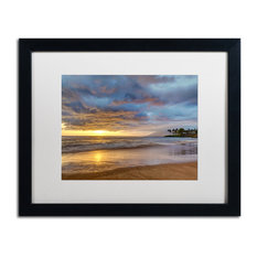 Pierre Leclerc 'Secret Beach Sunset' Matted Art, Black Frame, White, 20x16