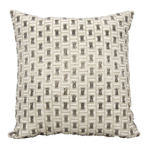 "Mina Victory Luminecence Beaded Buckles Pewter and Silver Throw Pillow, 20""x20"""