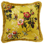 Oasis - Leighton Cushion - The Leighton Cushion creates a modern, fresh atmosphere in the living room or bedroom. Blooming flowers pop against a bright yellow background, adding colour and texture to any room. Clarke & Clarke is a UK-based company offering transitional home furnishings, bringing inspirational design to the home.
