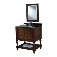 """Mission Turnleg Spa 32"""" Dark Brown Vanity, Black Granite Top, Without Mirror"""