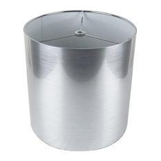"Classic Drum Metallic Lampshade, 10""x10""x10"", Silver"