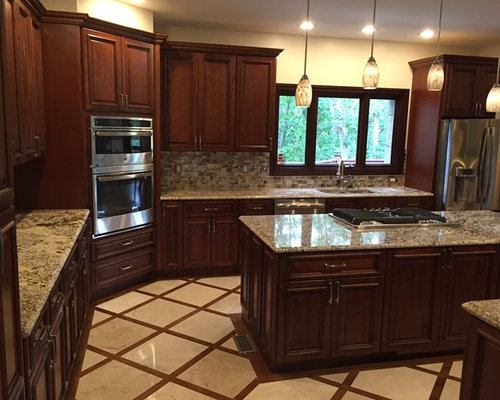 Prestige Kitchen Cabinets And Travertine Tile Image 2   Products