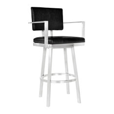 """Callisto 30"""" Barstool With Arms, Brushed Stainless Steel & Black Faux Leather"""