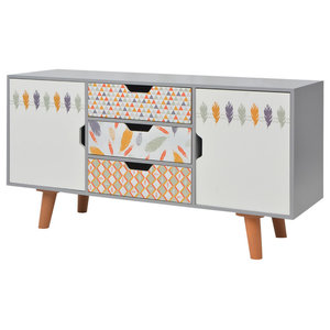 vidaXL Sideboard With Drawers, 110x35x57 cm, Grey