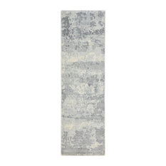 """Elbrus Contemporary Abstract Loom Knotted Area Rug, Bone, 2'6""""x8'"""