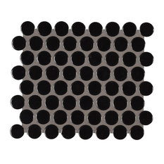 """MSI - 11.57""""x12.4"""" Domino Black Glossy Porcelain Penny Round Mesh Mounted, Set of 20 - Mosaic Tile"""