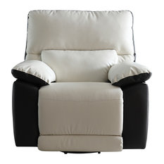 Divano Roma Furniture   Modern Two Tone Bonded Leather Oversize Recliner  Chair   Recliner Chairs