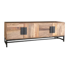 Agra 4-Door Light Mango Wood TV Unit With Iron Legs