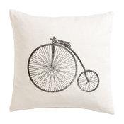 Block-Printed Antique Bicycle Pillow