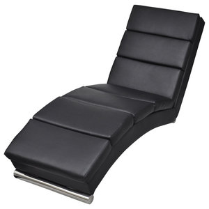 Lounge Faux Leather Chaise, Black