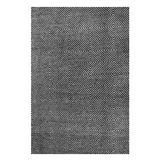 Hand-Tufted Trellis Rug, Black, 9'x12'
